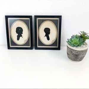 Pair of Vintage Framed Boy Girl Cameo Silhouettes